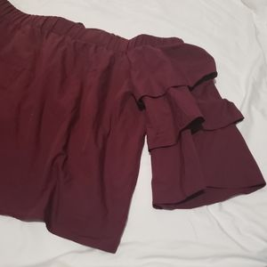 Haute monde burgundy ruffled blouse